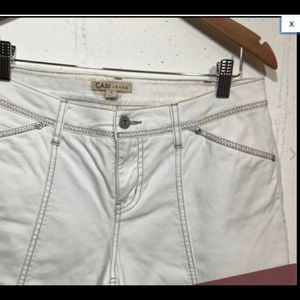 Cabi Bermuda Denim Shorts, White, Size 6